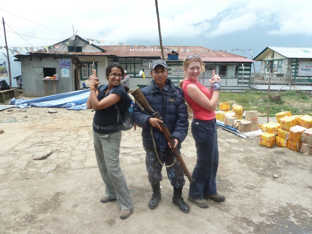 Everest Base Camp Trek - posing with armed security guards
