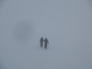 We could barely see a few feet ahead on the way up the mountain
