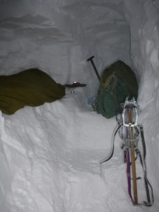 Harry's bed for the night... our snowhole even had stairs!