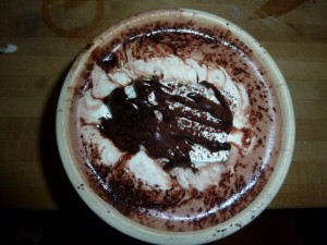 A bowl of delicious hot chocolate