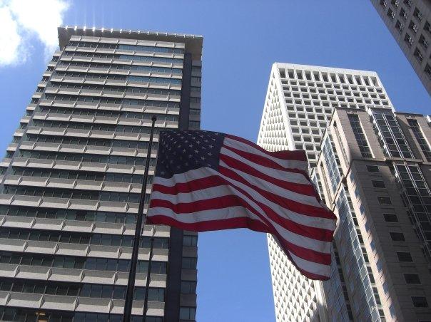 USA Flag with buildings