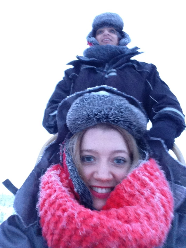 dog sledding selfie