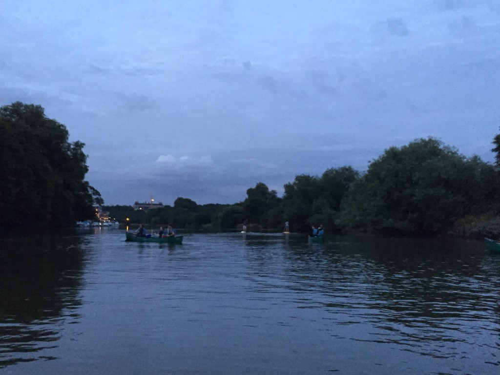 canoeing the Thames at night