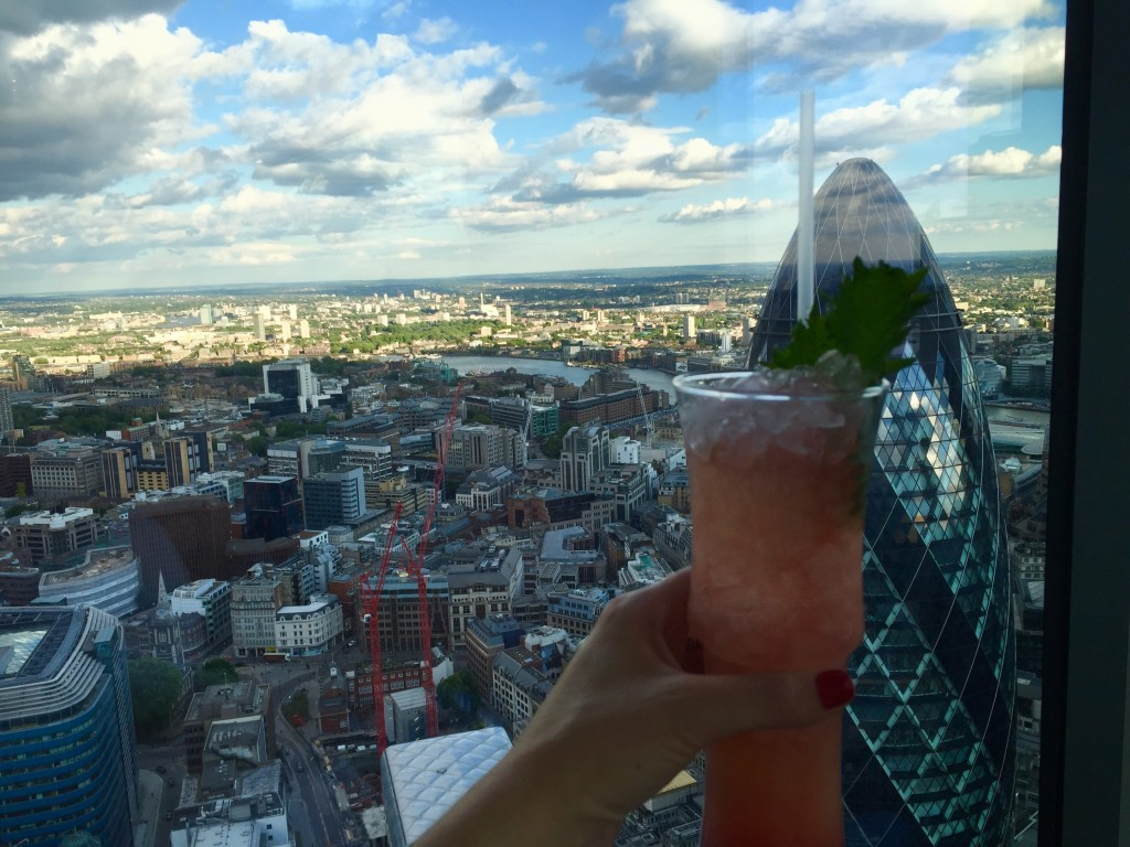 Views and cocktails at Duck and waffle, London