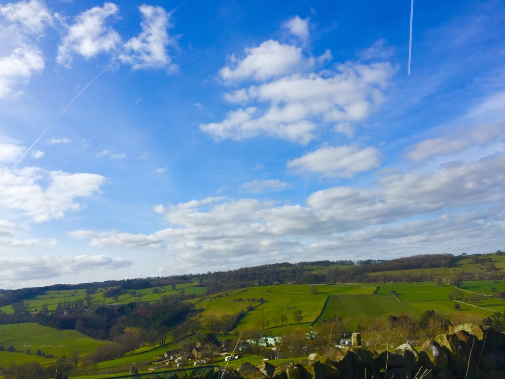 Derbyshire countryside, blue sky