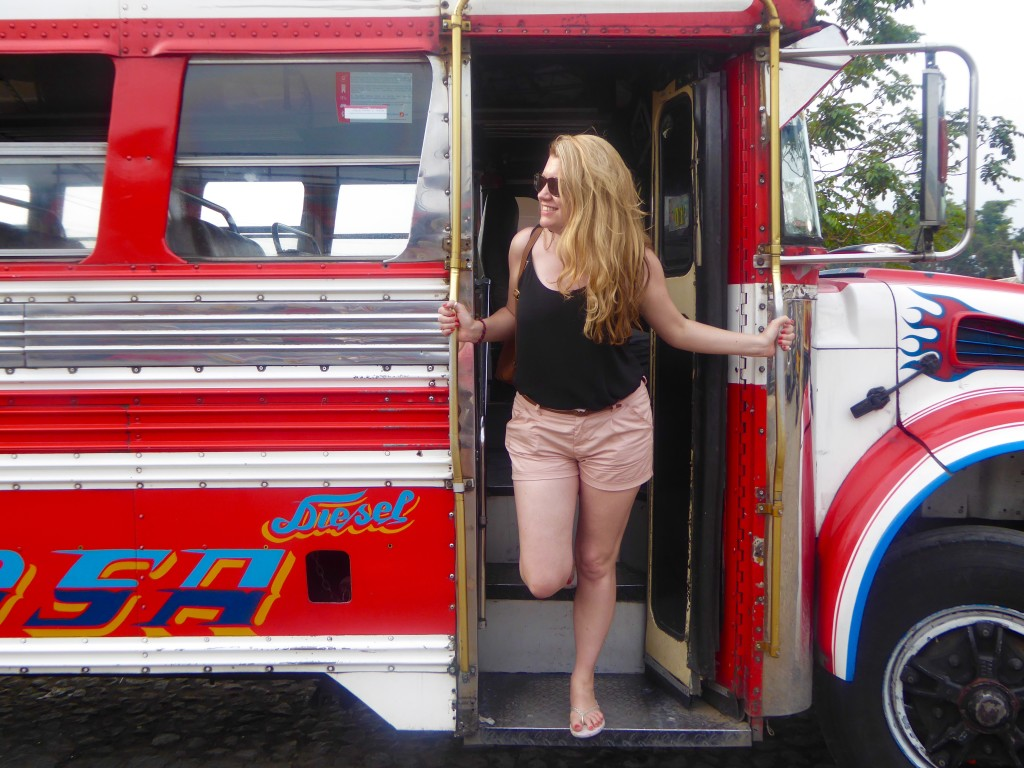 chicken bus stop in Antigua, Guatemala - 5 tips for making your life unforgettable