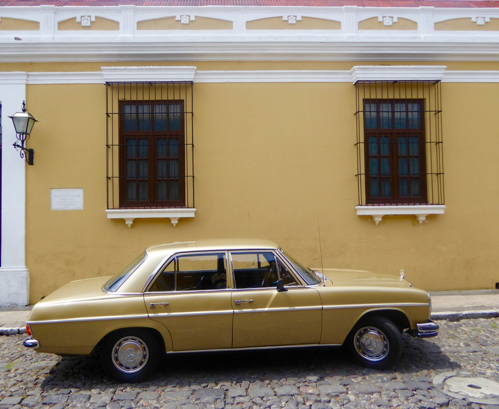 yellow wall and car, Antigua, Guatemala