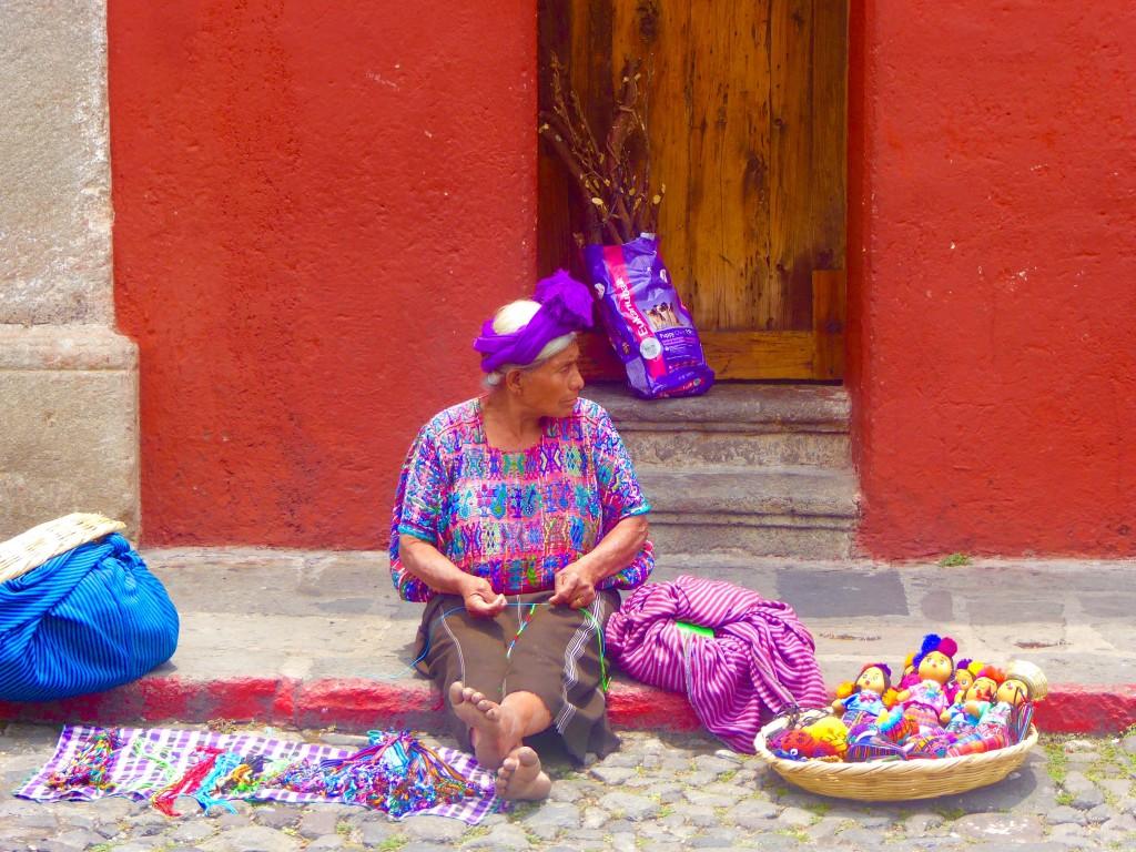 craft sales on the street in antigua, Guatemala