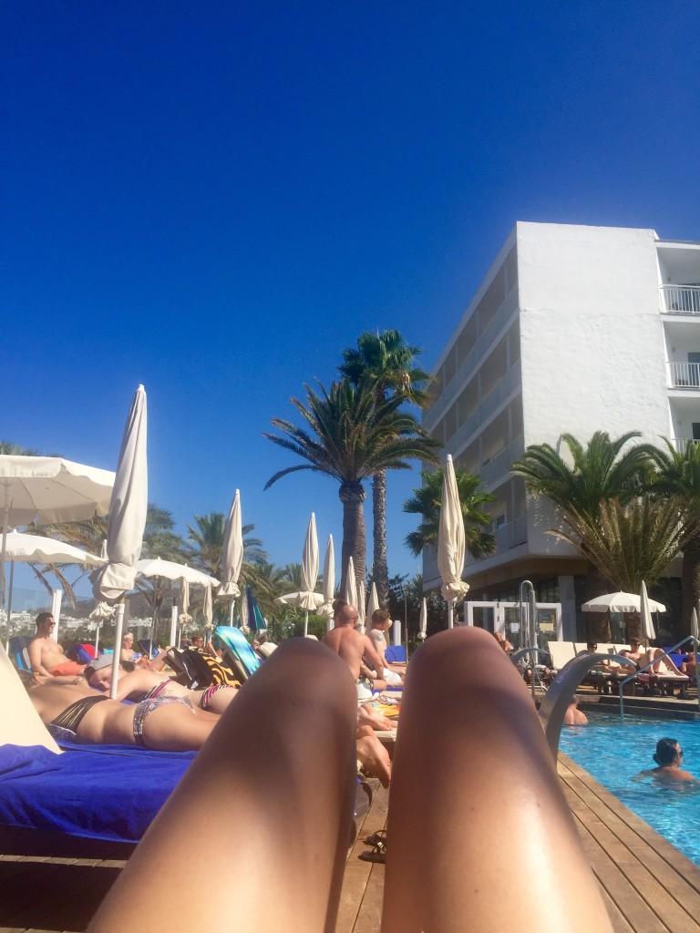 sunbathing in Ibiza, San Antonio