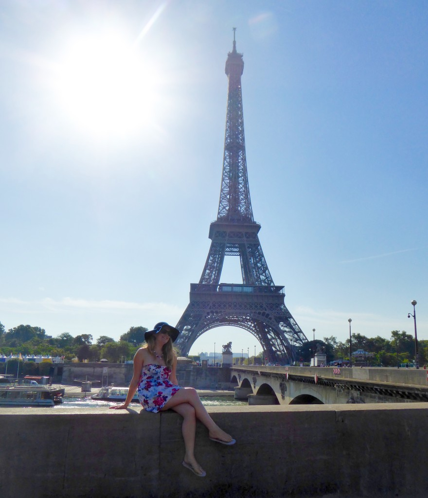 She gets around at the Eiffel Tower