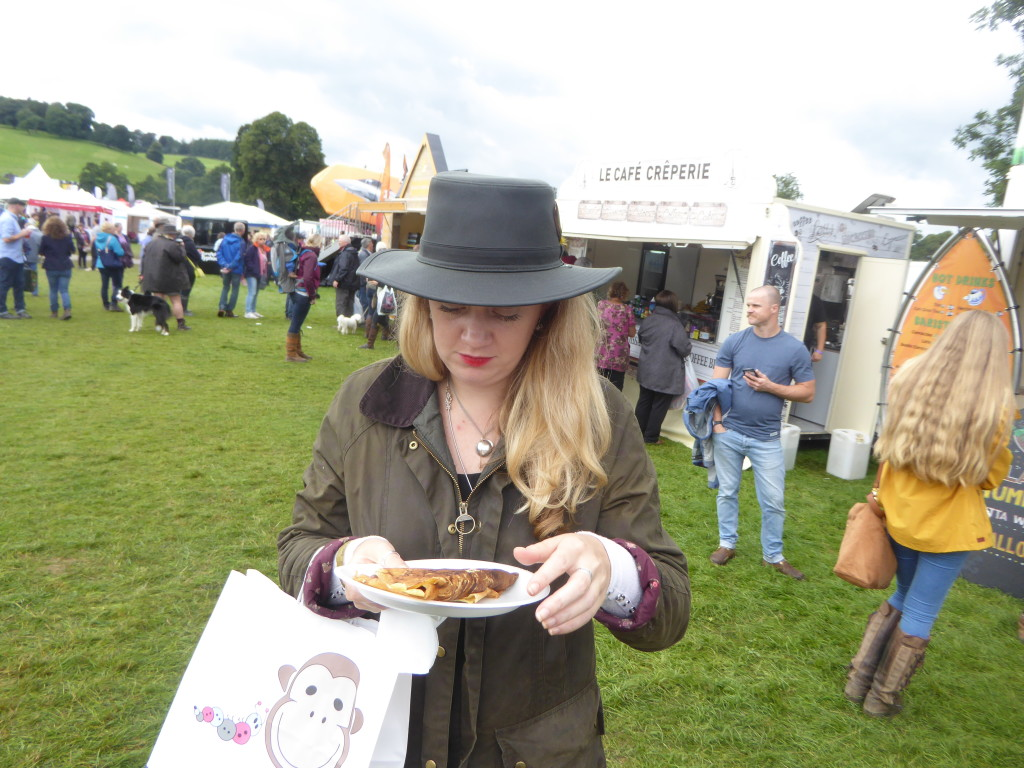 Eating crepes at Chatsworth Country Show
