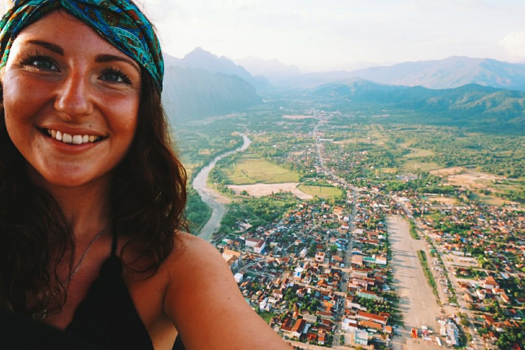 High in the sky in a hot air balloon; Vang Vieng, Laos