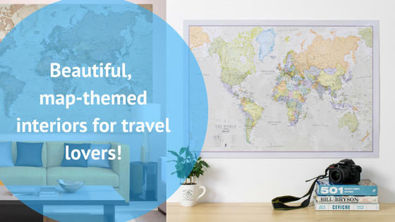 travel blog map themed interiors travel lovers