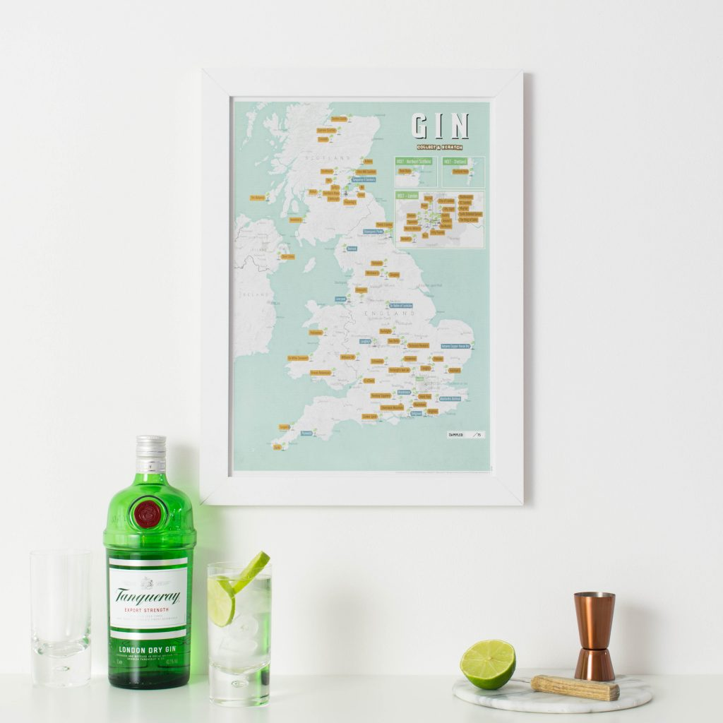 UK Gin Distilleries - map themed interiors