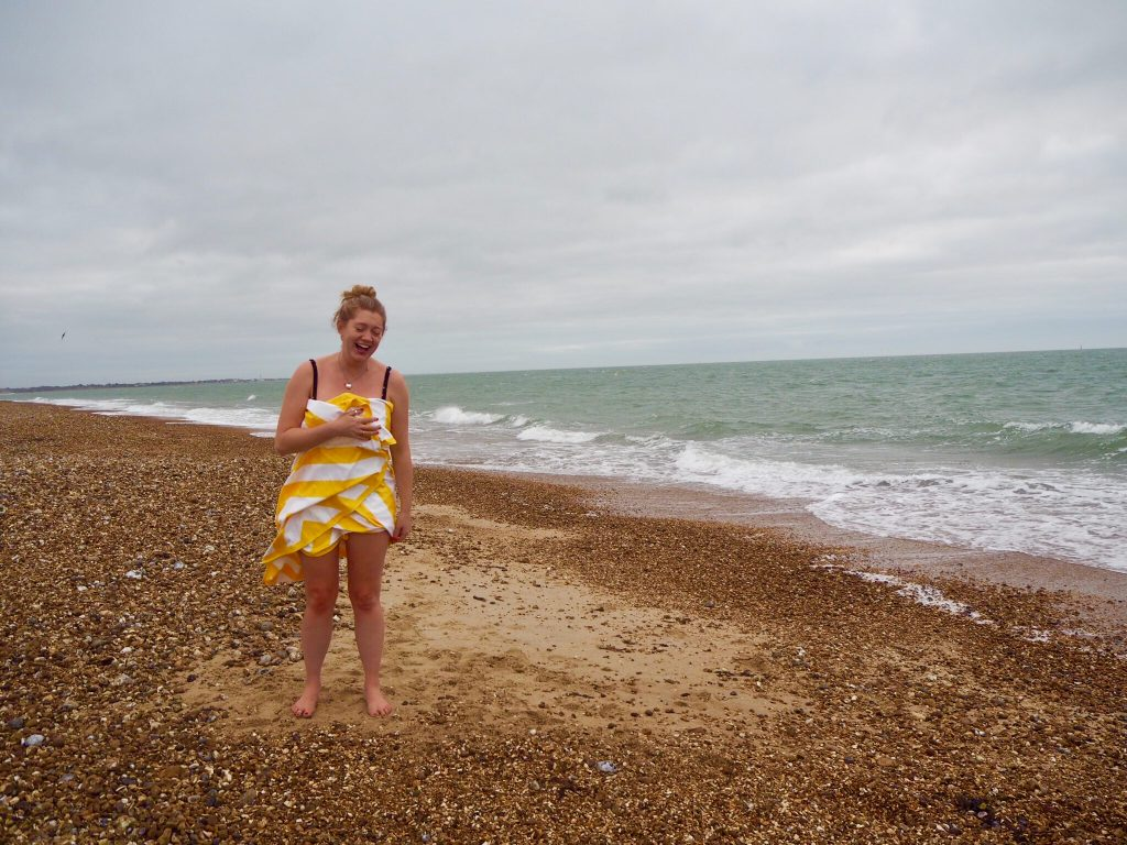 wild swimming in Southsea - dock and bay towels