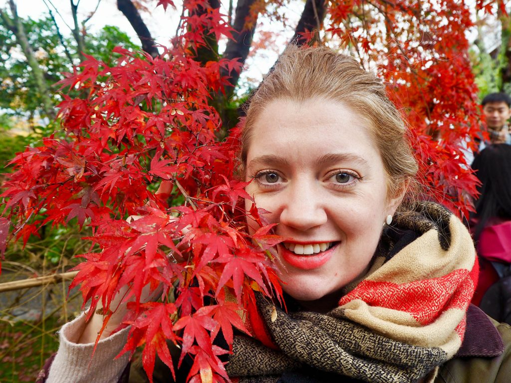 red autumn leaves in Kyoto