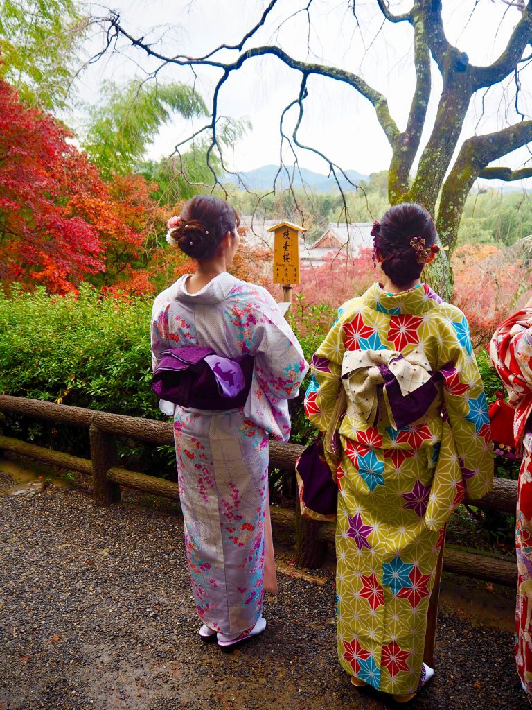 Japanese friends in traditional dress