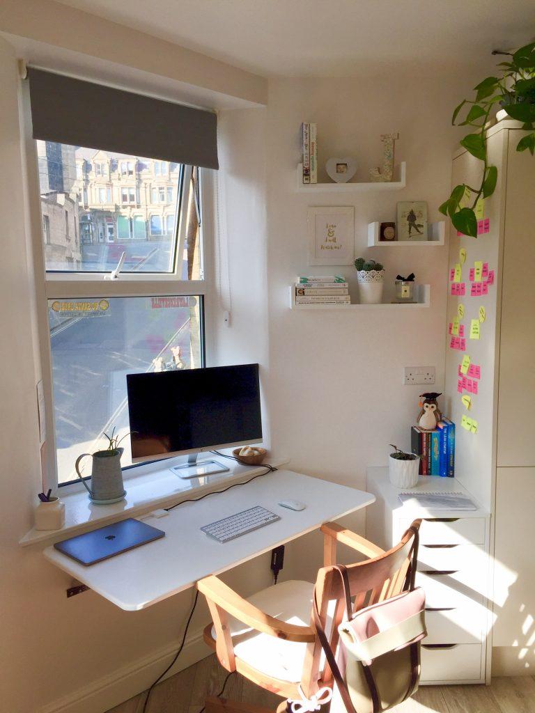 my home working desk in Derbyshire