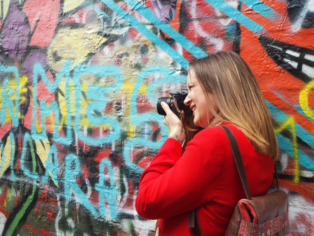 Bloggers in graffiti alley in Ghent, Brussels