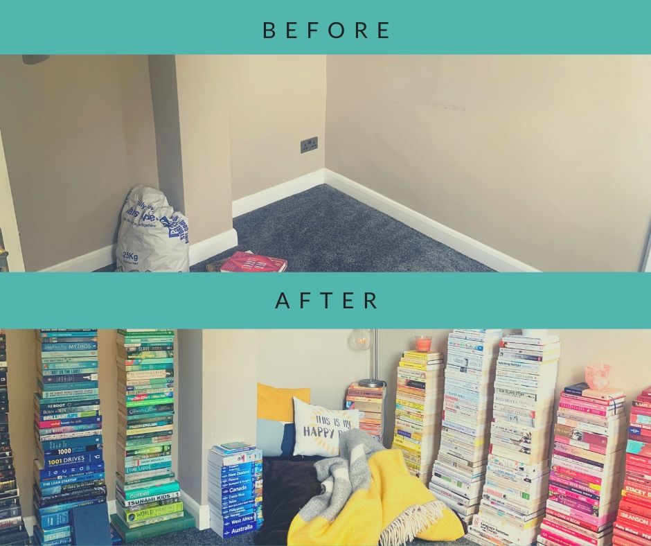 before and after reading nook
