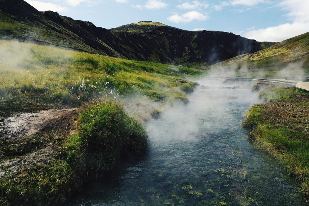 Reykjadalur hot thermal spring in west iceland