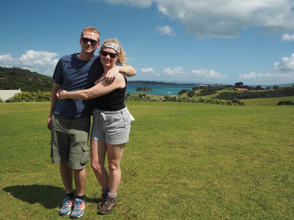 Jen and Olly at Cable Bay winery, Waiheke Island, New Zealand